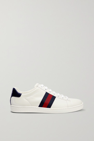 Gucci Ace Watersnake And Canvas-Trimmed Leather Sneakers In White