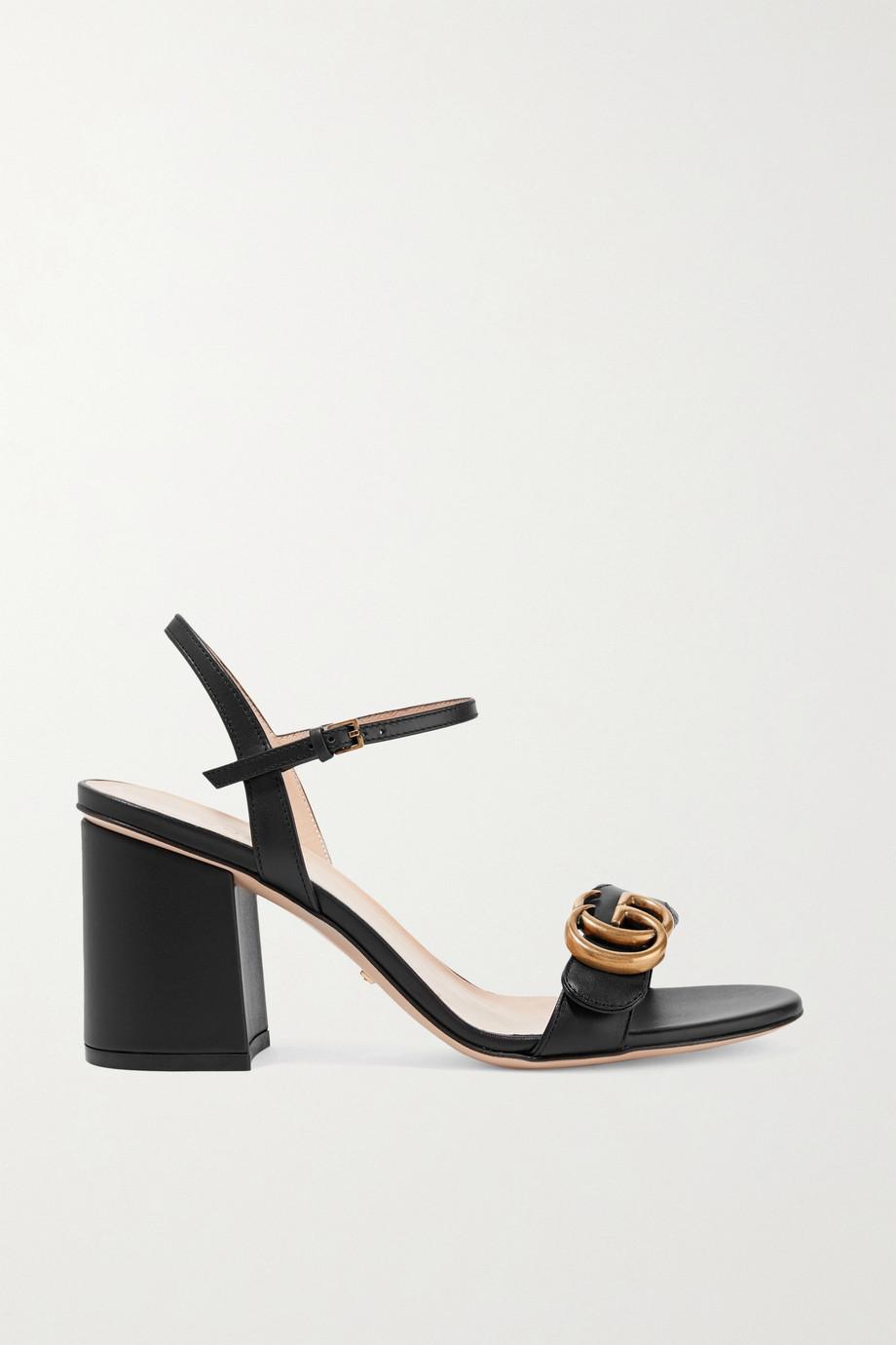 Gucci Marmont 品牌标志缀饰皮革凉鞋