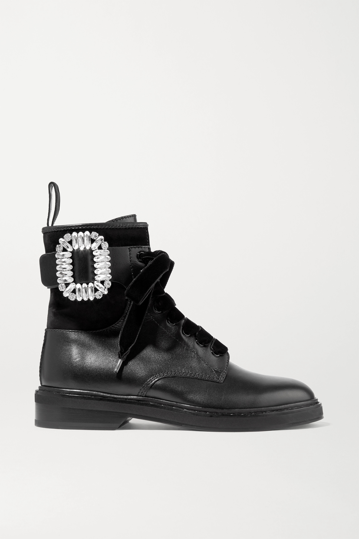 Roger Vivier Viv Rangers 水晶缀饰拼接皮革绒面革踝靴