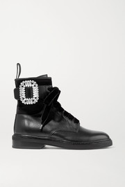 Viv Rangers crystal-embellished paneled leather and suede ankle boots