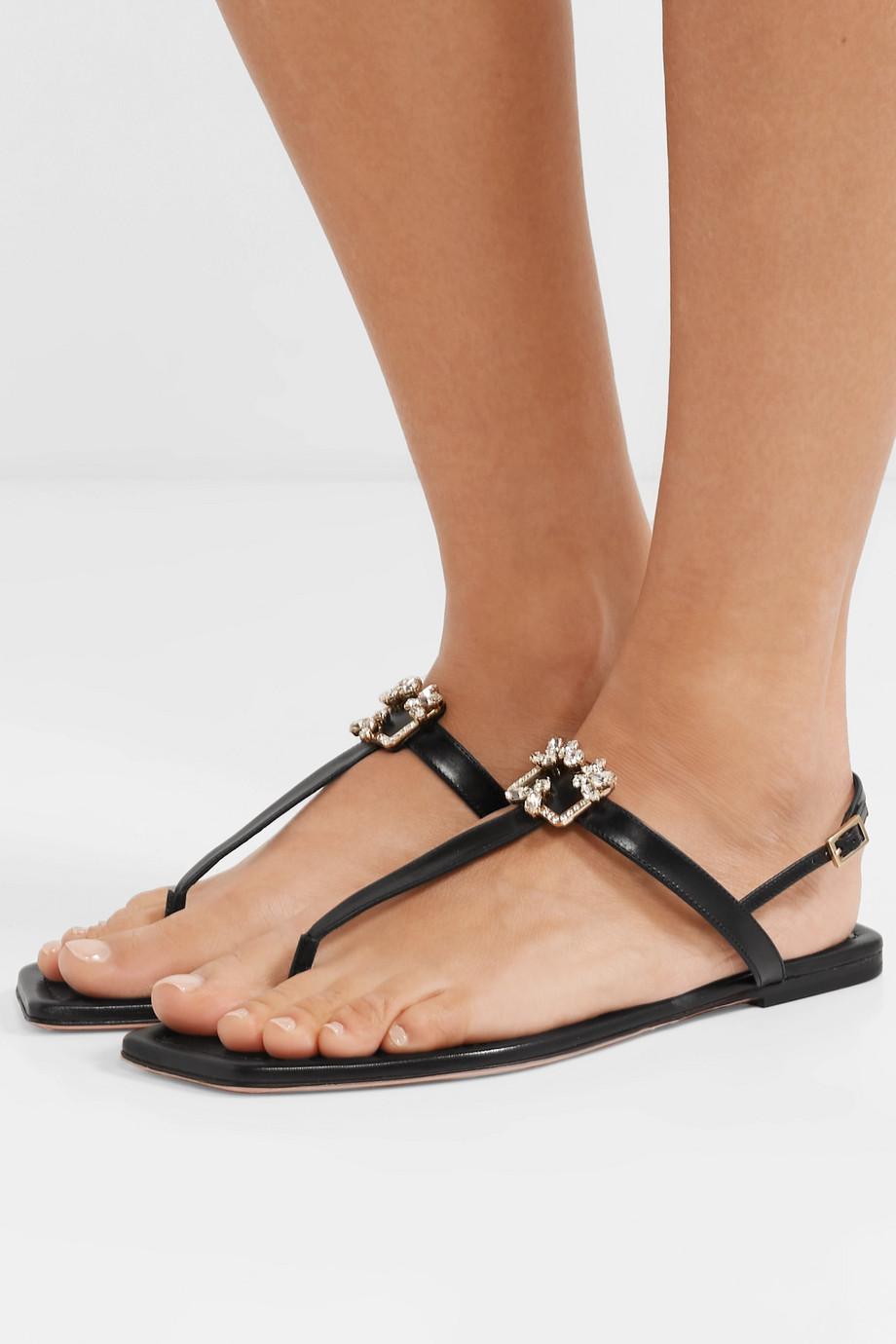 Roger Vivier Broche crystal-embellished leather slingback sandals