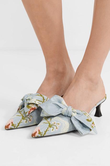 + Tabitha Simmons bow-embellished jacquard mules