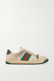 Gucci Screener canvas-trimmed distressed leather sneakers