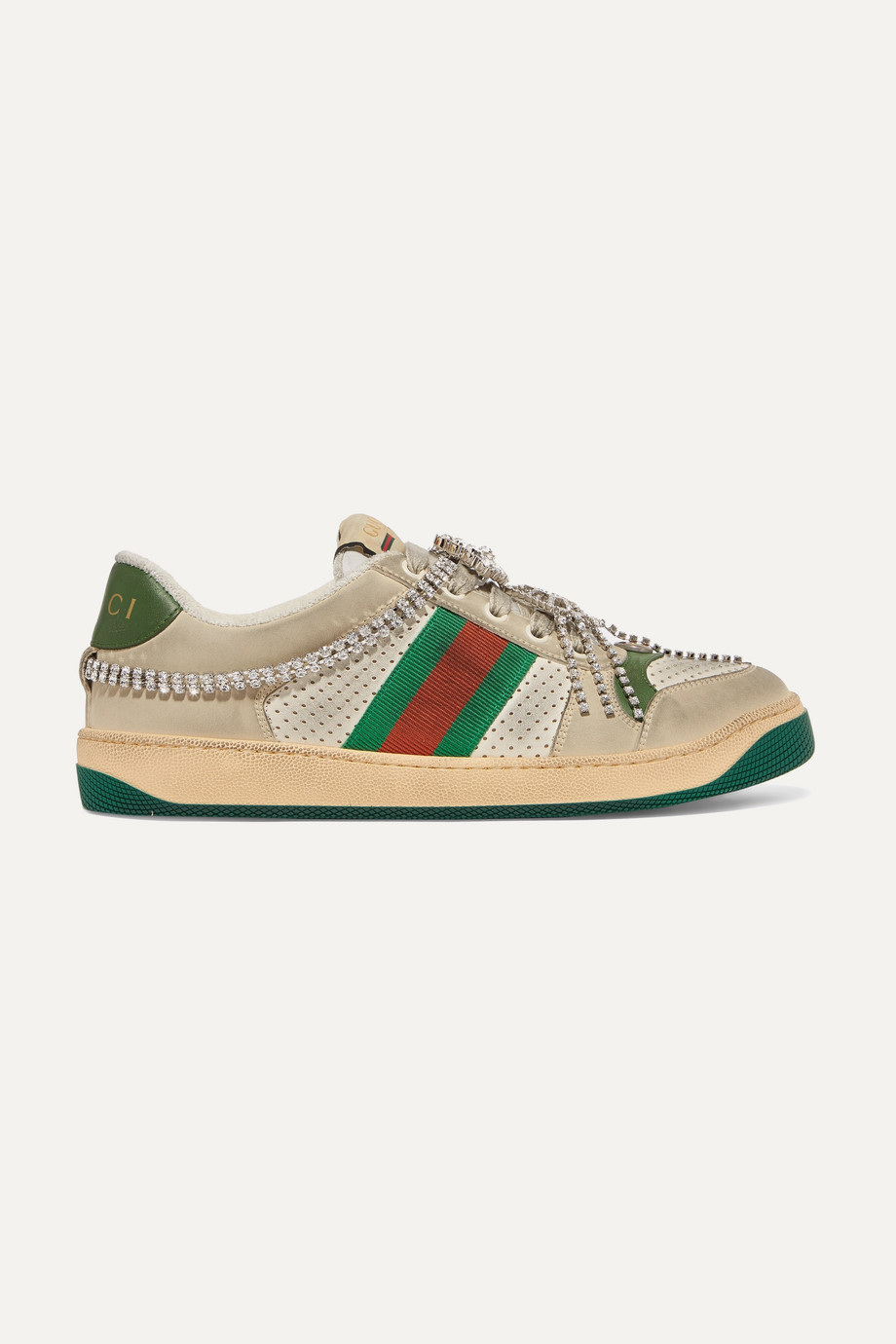 Gucci Screener embellished canvas-trimmed distressed leather sneakers