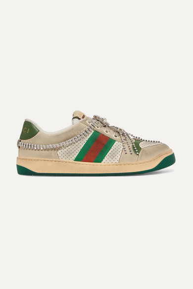 Gucci Screener Embellished Canvas-trimmed Distressed Leather Sneakers In Beige