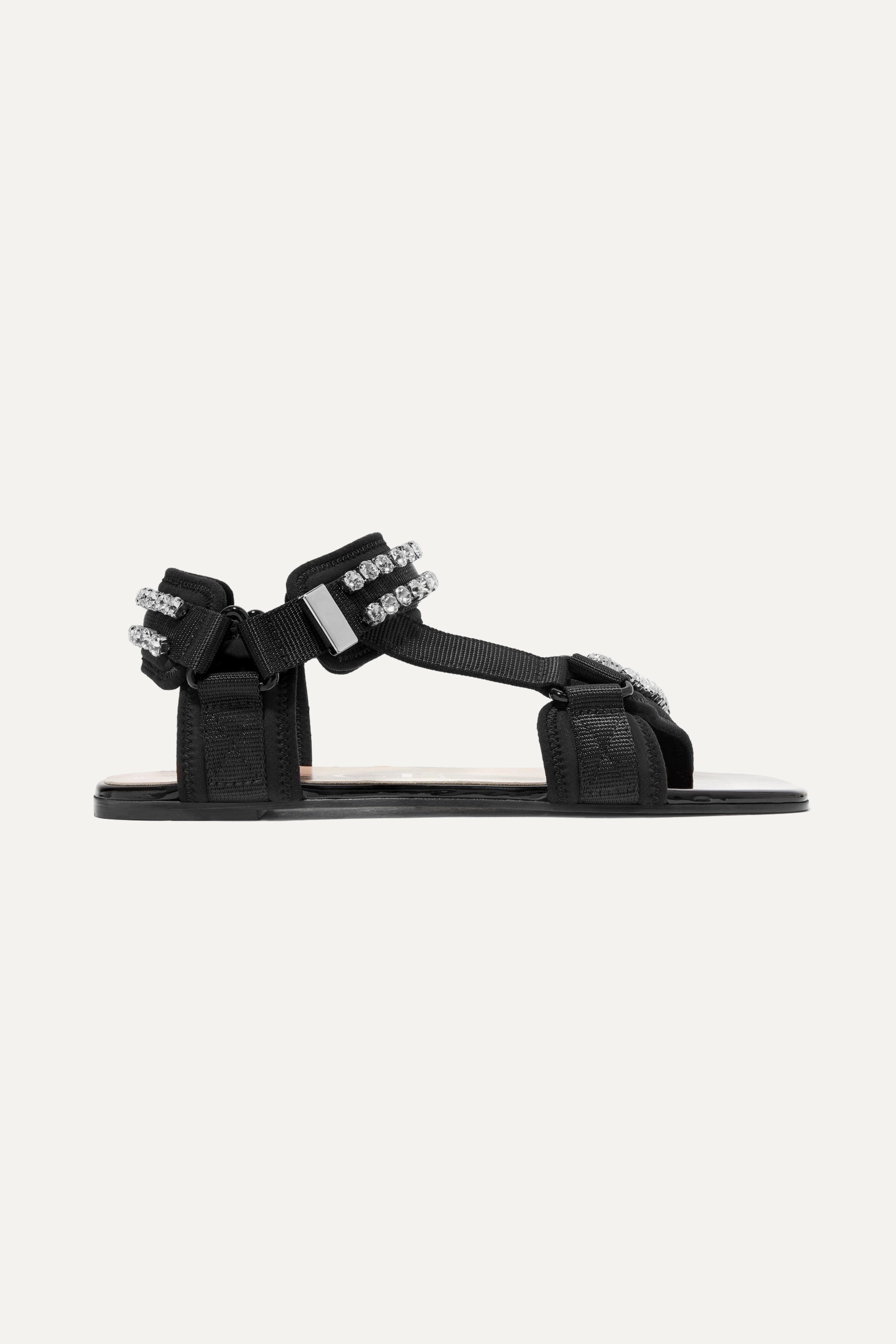 Gucci Shea crystal-embellished canvas and neoprene sandals