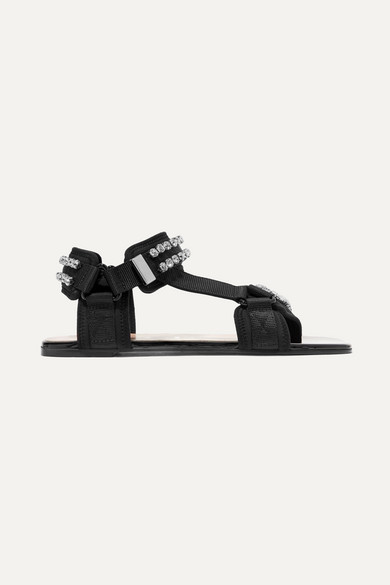 Gucci Sandals Shea crystal-embellished canvas and neoprene sandals