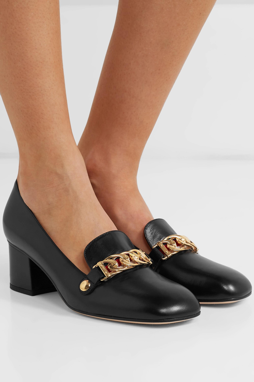 Black Sylvie chain-embellished leather