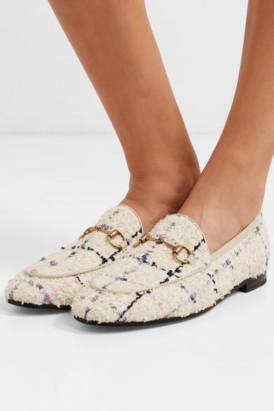 ff3045f98a1 Jordaan horsebit-detailed leather-trimmed bouclé-tweed loafers