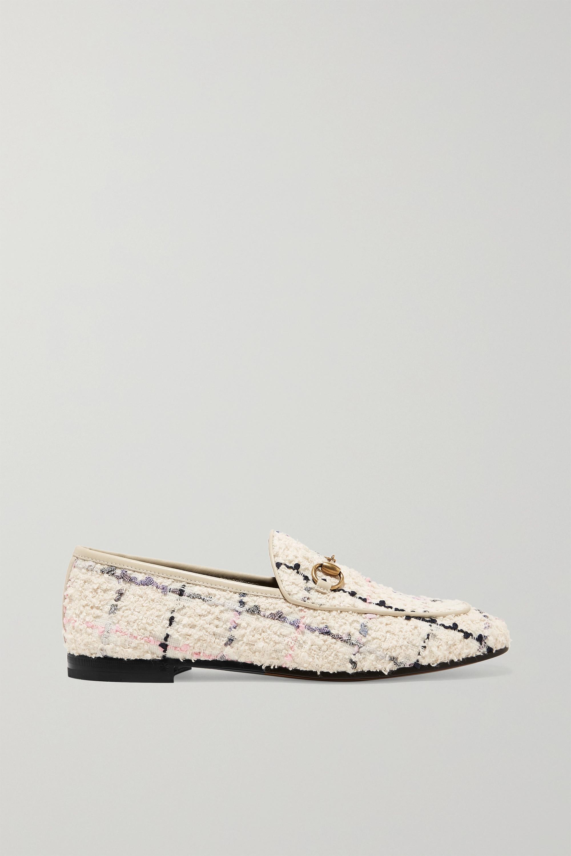 Gucci Jordaan 马衔扣细节皮革边饰圈圈花呢乐福鞋