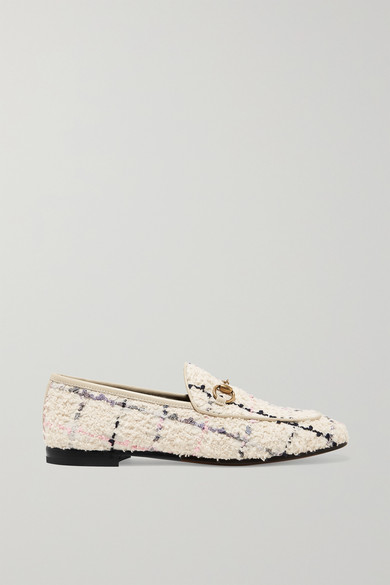Gucci Shoes Jordaan horsebit-detailed leather-trimmed bouclé-tweed loafers