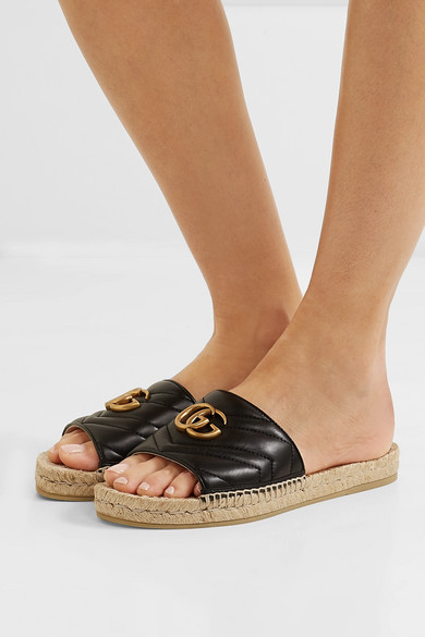 Gucci Slippers Logo-embellished quilted leather espadrille slides