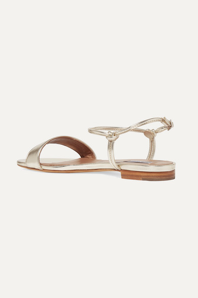 Tabitha Simmons Sandals Bungee metallic leather sandals