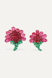 18-karat gold, ruby and emerald earrings