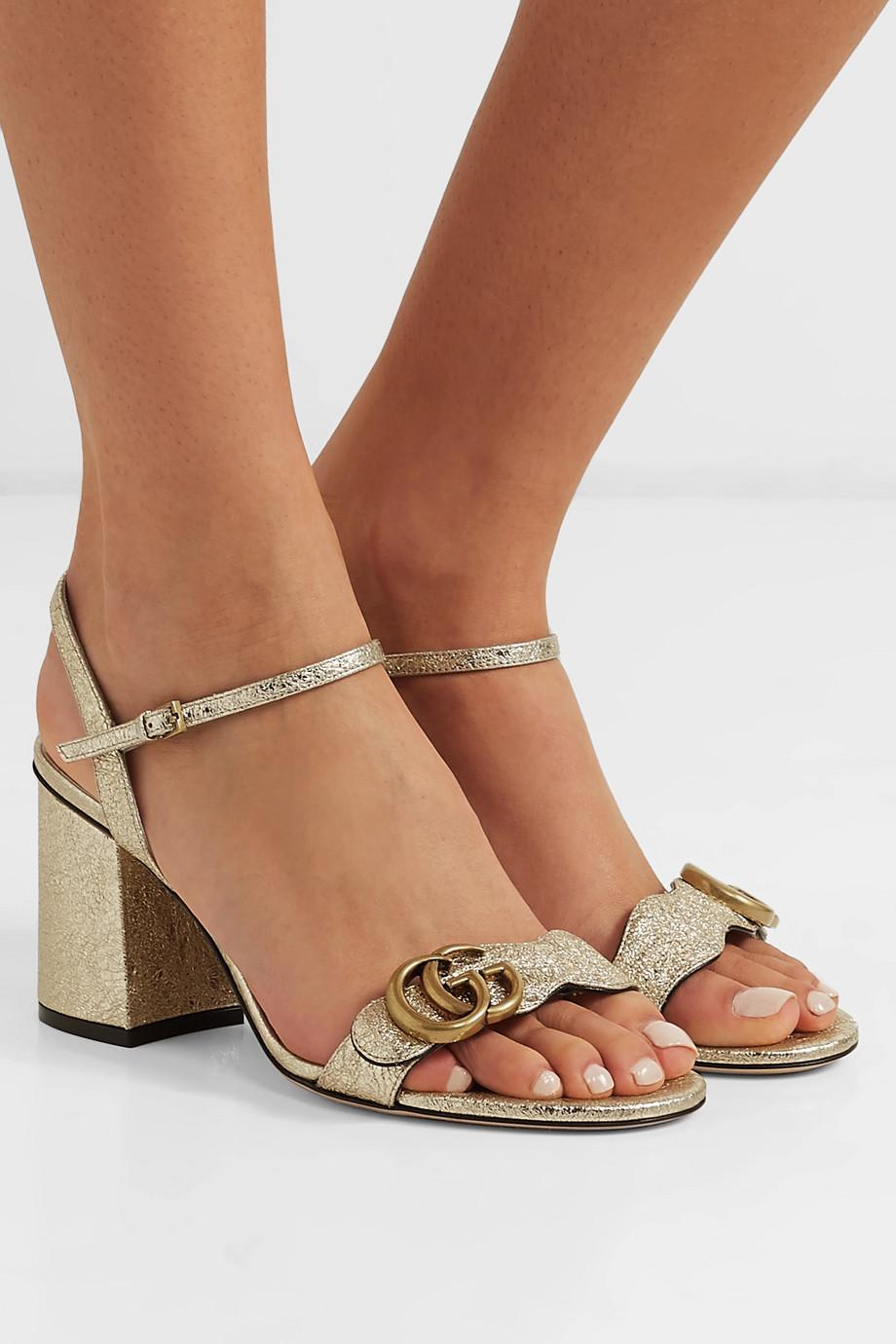 Gucci Marmont logo-embellished metallic cracked-leather sandals