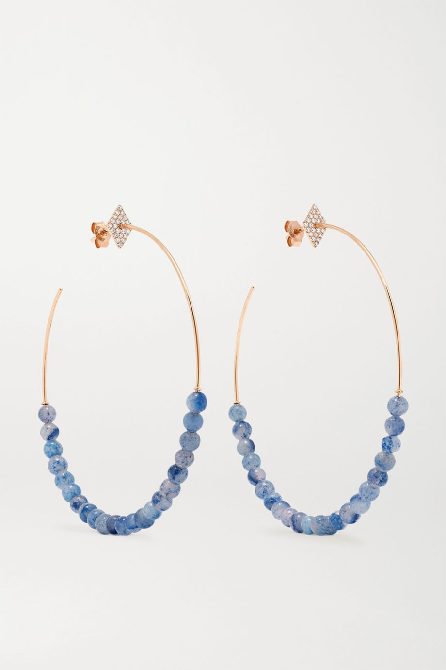 Diane Kordas 18-karat rose gold, aventurine and diamond hoop earrings