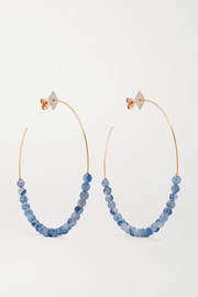 18-karat rose gold, aventurine and diamond hoop earrings