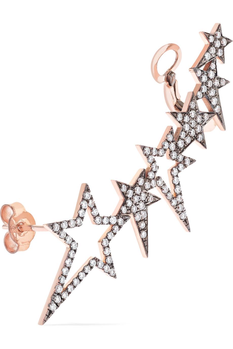 Diane Kordas Star 18-karat rose gold diamond ear cuff