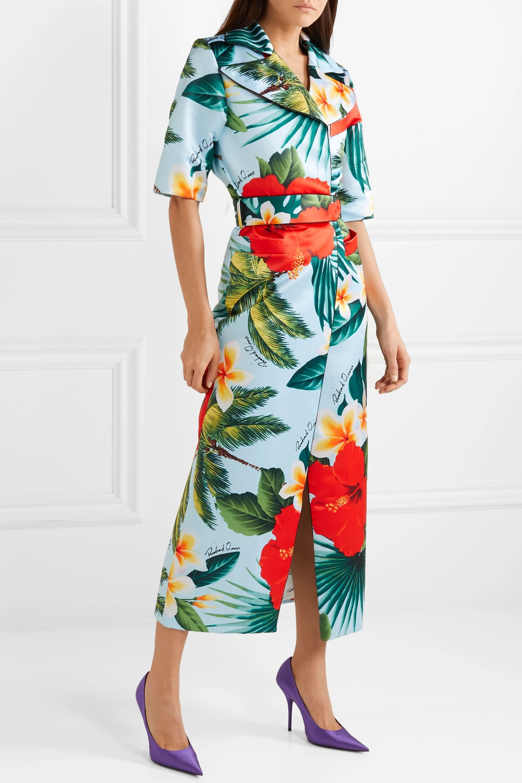 Richard Quinn Belted printed duchesse-satin midi dress