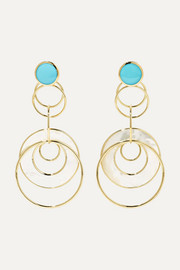 Ippolita Polished Rock Candy 18-karat gold, mother-of-pearl and turquoise earrings