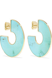 Ippolita Polished Rock Candy 18-karat gold turquoise hoop earrings