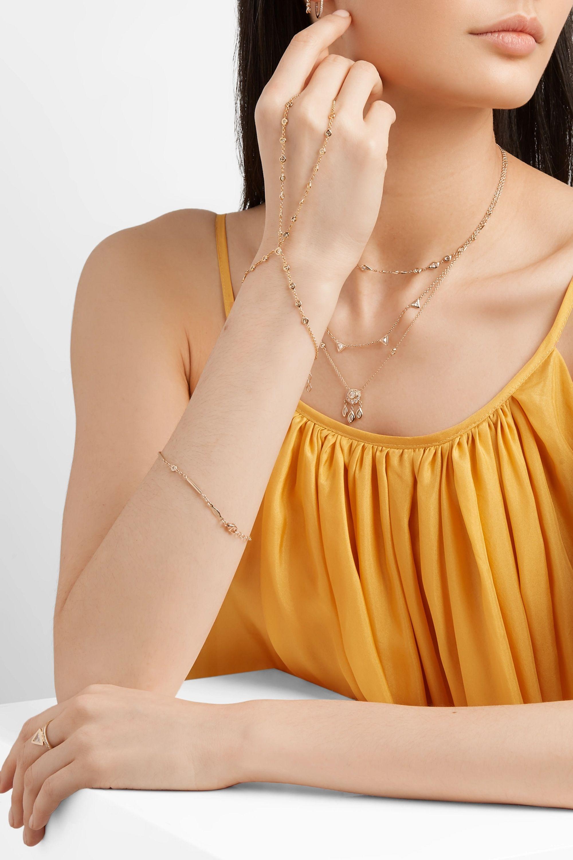 Jacquie Aiche Double Stem 14-karat gold diamond finger bracelet