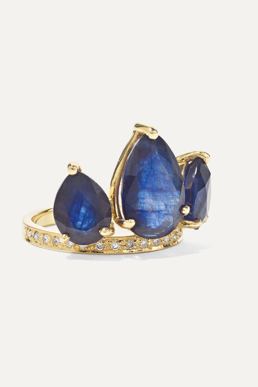 Jacquie Aiche Crown Petal 14-karat gold, sapphire and diamond ring