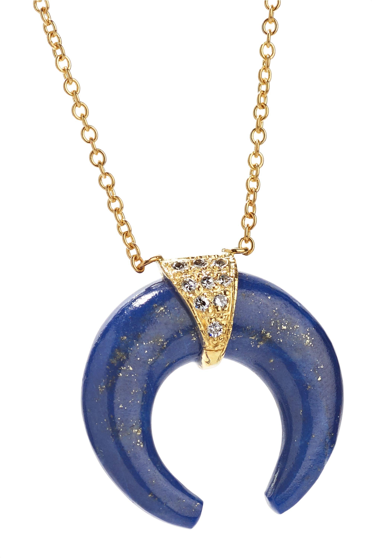Jacquie Aiche Double Horn 14-karat gold, lapis lazuli and diamond necklace