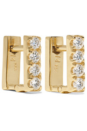 Ileana Makri Mini Square 18-karat gold diamond earrings