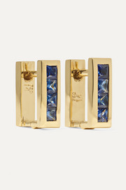 Ileana Makri Mini Square 18-karat gold sapphire earrings