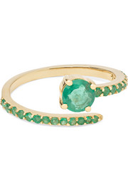 Ileana Makri Grass Seed 18-karat gold emerald ring