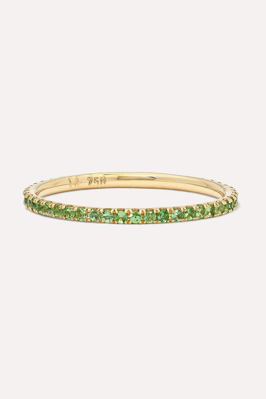 Ileana Makri Thread 18-karat gold tsavorite ring