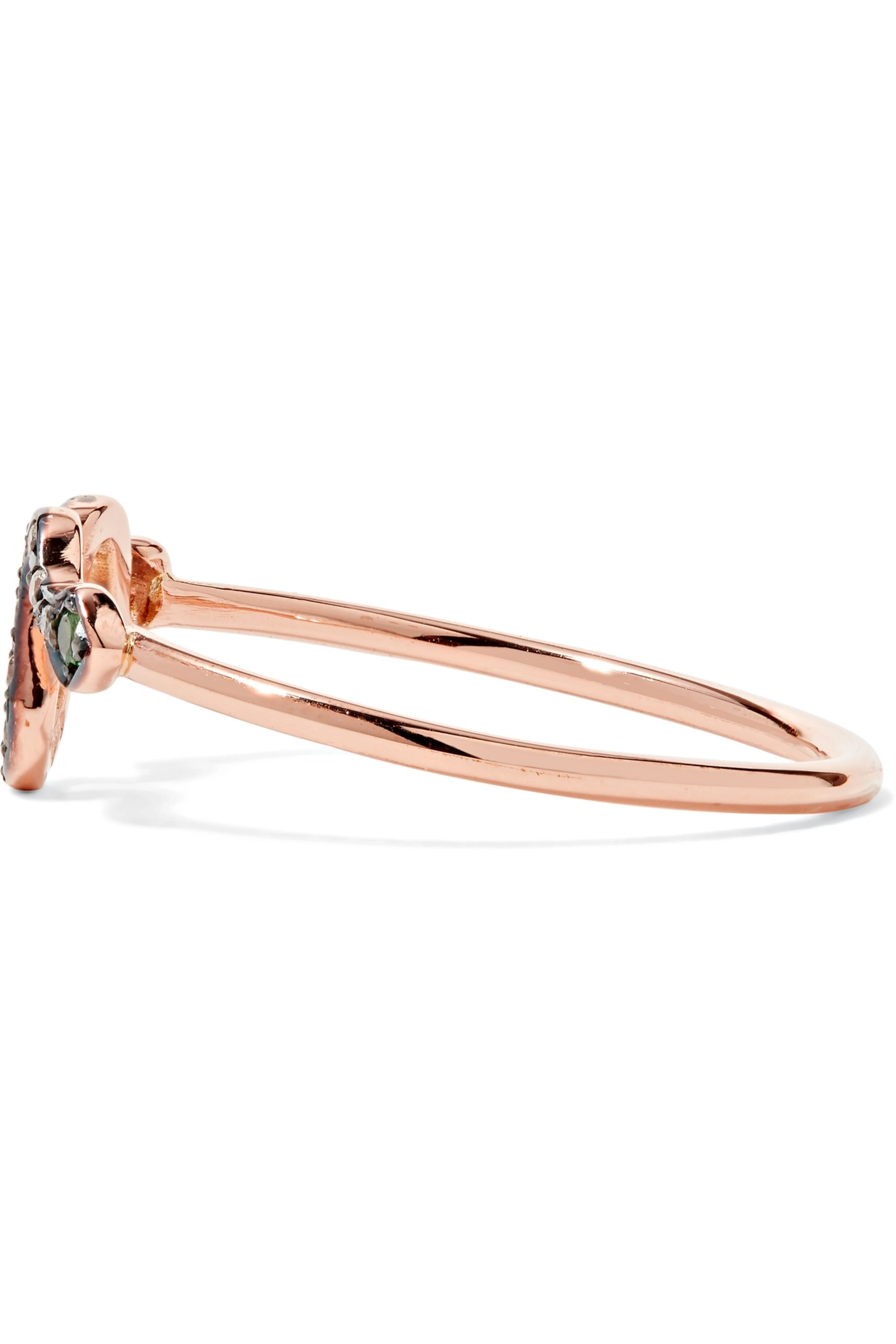 Rose Gold Mini Snake 18-karat Gold, Diamond And Tsavorite Ring | Ileana Makri
