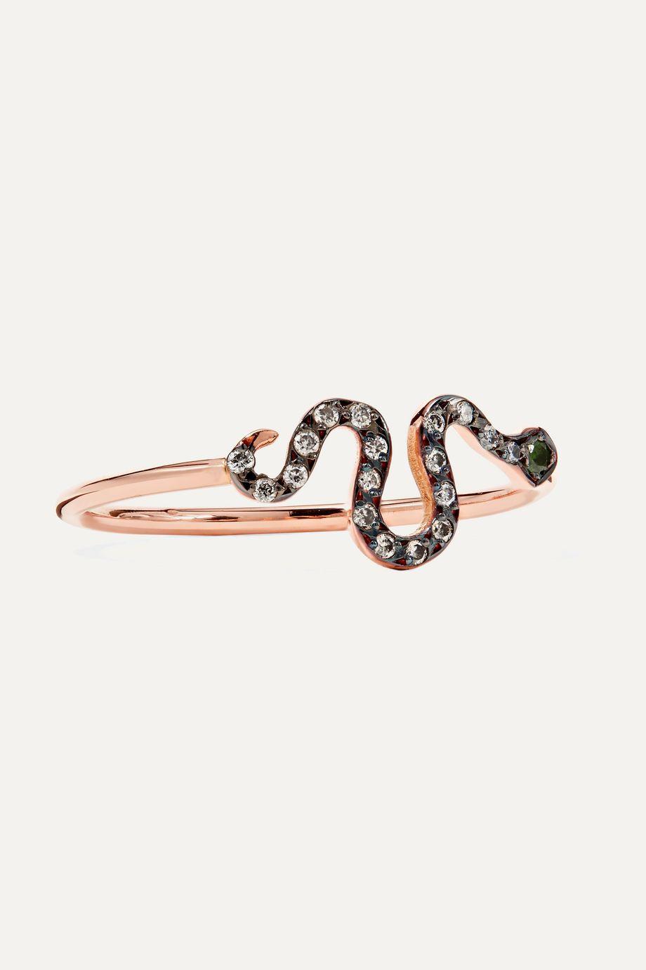 Ileana Makri Mini Snake 18-karat rose gold, diamond and tsavorite ring