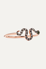 Ileana Makri Mini Snake 18-karat rose gold, diamond and tsavorite ring