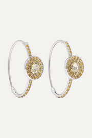 18-karat white gold sapphire hoop earrings