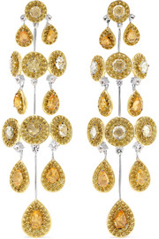 18-karat white and yellow gold sapphire earrings
