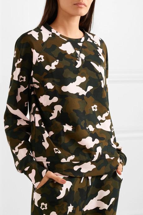 Camouflage-print stretch-jersey sweatshirt