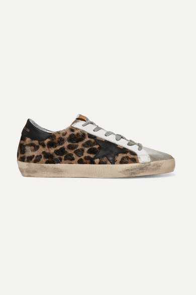 60bb67647703f Golden Goose | Superstar distressed leopard-print calf hair, leather and  suede sneakers | NET-A-PORTER.COM