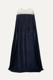 Cape-effect fringed silk-blend lamé and embellished tulle gown