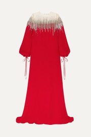 Oscar de la Renta Embellished silk-crepe and tulle gown