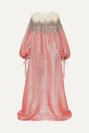 Oscar de la Renta Embellished silk-lamé and tulle gown