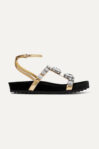 Miu Miu Sandals Crystal-embellished metallic leather sandals