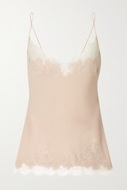Chantilly lace-trimmed silk-georgette camisole
