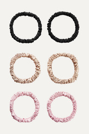 Set of six skinny silk hair ties
