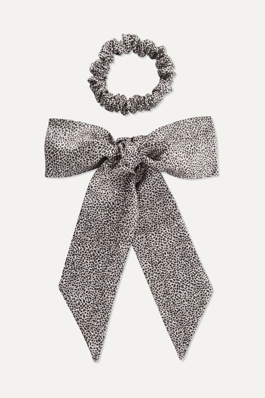 Slip Leopard-print silk ribbon and hair tie set