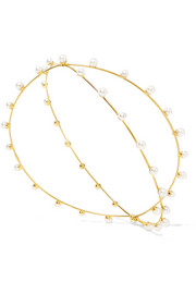 Nikki gold-plated faux pearl headpiece