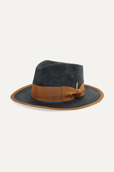 d88053d90e99 NICK FOUQUET | Nick Fouquet - Cigarillo Grosgrain-Trimmed Straw Hat - Navy  | Goxip