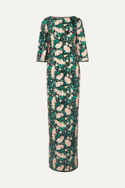 Rachel Zoe Lina open-back chiffon-trimmed sequined printed crepe gown