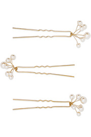 Jennifer Behr Primavera set of three gold-tone Swarovski pearl hair pins